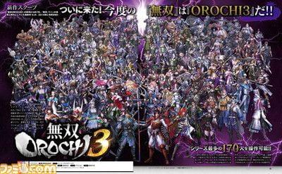 無双OROCHI3, キャラ数 無双OROCHI3のキャラ数は170名、無双8や真田丸のキャラは未実装か